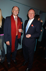 Left to right, brothers SIMON PARKER BOWLES and ANDREW PARKER BOWLES  at a party to celebrate the publication of 'E is for Eating' by Tom Parker Bowles held at Kensington Place, 201 Kensington Church Street, London W8 on 3rd November 2004.<br />