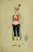 Hand painted Character costume design from 'Le voyage dans la Lune' [A Trip to the Moon] is an 1875 opéra-féerie in four acts and 23 scenes by Jacques Offenbach. Loosely based on the 1865 novel From the Earth to the Moon by Jules Verne, its French libretto was by Albert Vanloo, Eugène Leterrier and Arnold Mortier.