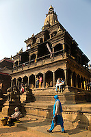 The Patan Durbar Square presents an example of mastery in urban design with a complex of temples fronting the old royal palace of Patan. The many shrines here offer a medley of architectural styles, with the stone temple of Krishna Mandir, dedicated to the Hindu deity Krishna, standing out for its workmanship. The palace building contains a number of chowks, or courtyards. The Sundari Chowk has in its centre a sunken bath with its walls embellished with stone carvings. The Golden Window in the palace is a masterpiece in repousse art. UNESCO has declared Patan Durbar Square a World Heritage Site.