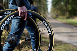 Spare wheels at the ready on the cobbles at Ronde van Drenthe 2017. A 152 km road race on March 11th 2017, starting and finishing in Hoogeveen, Netherlands. (Photo by Sean Robinson/Velofocus)