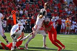 21 October 2017:   Tuyone Clark causes a hurry up throw by Chris Streveler during the South Dakota Coyotes at Illinois State Redbirds Football game at Hancock Stadium in Normal IL (Photo by Alan Look)