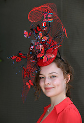 Harriet Finlayson poses for photographs on day three of Royal Ascot at Ascot Racecourse.