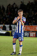 Goalscorer Wigan Athletic defender Callum Connolly(12) celebrates during the EFL Sky Bet Championship match between Burton Albion and Wigan Athletic at the Pirelli Stadium, Burton upon Trent, England on 14 January 2017. Photo by Richard Holmes.