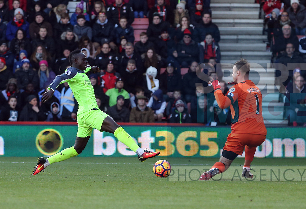 Liverpool's Sadio Mane scoring his sides opening goal during the Premier League match at the Vitality Stadium, London. Picture date December 4th, 2016 Pic David Klein/Sportimage