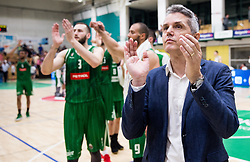 Zoran Martic, coach of Petrol Olimpija celebrates after the basketball match between KK Krka Novo mesto and  KK Petrol Olimpija in 4th Final game of Liga Nova KBM za prvaka 2017/18, on May 27, 2018 in Sports hall Leona Stuklja, Novo mesto, Slovenia. Photo by Vid Ponikvar / Sportida