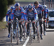 The United States Postal Service Cycling team led by George Hincapie, left and Lance Armstrong, right, climb a gentle grade near the town of Solvang, CA,  during a training session Friday, January 23, 2004.  The team, led by five-time Tour de France winner, Lance Armstrong is preparing for the upcoming European racing season and Armstrong's attempt to be the only six-time winner of the Tour de France.