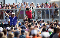 February 25, 2018 - Palm Beach Gardens, Florida, U.S. - Tiger Woods tees off on the fourth hole during the final round of the Honda Classic at PGA National Resort and Spa in Palm Beach Gardens, Florida on February 25, 2018. (Credit Image: © Allen Eyestone/The Palm Beach Post via ZUMA Wire)