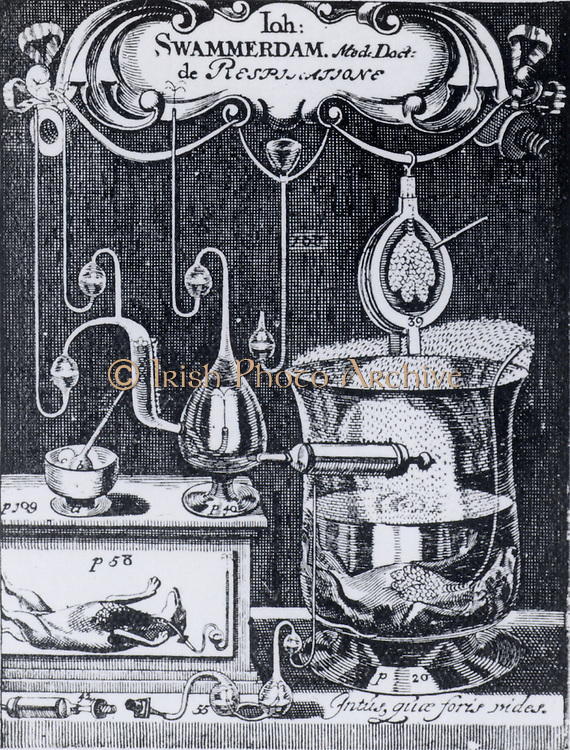 Jan Swammerdam (1637-1680) Dutch naturalist. Frontispiece of his 'Tractatus de Respiratione' (1667) showing some of the experiments described in the text.