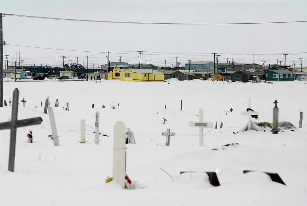 Barrow, Alaska. Houses in Browerville and Barrow cementery. April 2007.