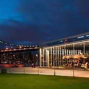 View of Manhattan Bridge and the Carousel at Brooklyn Bridge Park