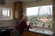 Pensioner Barbara Dowling sips tea views an electricity pylon from the warm kitchen of her North Somerset home.