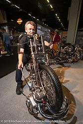 Tomas Pitlik of the Czech Republic with a new custom that sports an engine fixed to the front end in the AMD World Championship of Custom Bike Building in the Intermot Customized hall during the Intermot International Motorcycle Fair. Cologne, Germany. Sunday October 7, 2018. Photography ©2018 Michael Lichter.