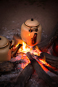 Coffee pot on camp fire, South Luangwa National Park. Zambia, Africa