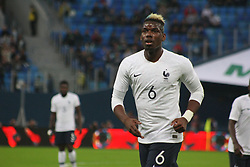 March 27, 2018 - Saint-Petersburg, Russia - Russian Federation. Saint-Petersburg. Arena Saint-Petersburg. Zenit-Arena. Football. Russia - France, Friendly match 1: 3. The football World Cup. The player of national team of Russia on football..Paul Pogba; (Credit Image: © Russian Look via ZUMA Wire)