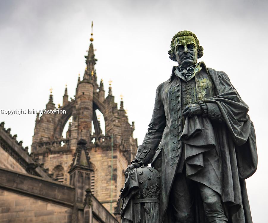Statue of Adam Smith on the Royal Mile in Edinburgh, Scotland UK