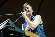 """Photos of the band Matt & Kim performing live on stage for the """"Delirium World Tour"""" at Madison Square Garden, NYC on June 21, 2016. © Matthew Eisman/ Getty Images. All Rights Reserved"""