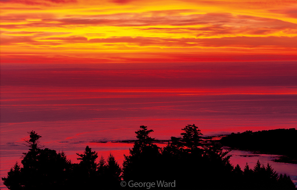 Dramatic Red Sunset over Bolinas from the Golden Gate National Recreation Area, California