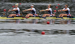 Great Britain's Alice Baatz, Mathilda Hodgkins-Byrne, Melissa Wilson and Zoe Lee in the Women's Quadruple Sculls heat one during day one of the 2018 European Championships at the Strathclyde Country Park, North Lanarkshire.