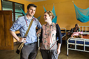 VSO volunteers Dr Siobhan Neville and Dr Peter O'Reilly with  specialisms in paediatric medicine on one of the children's ward of St Walburg's Hospital, Nyangao. Lindi Region, Tanzania.