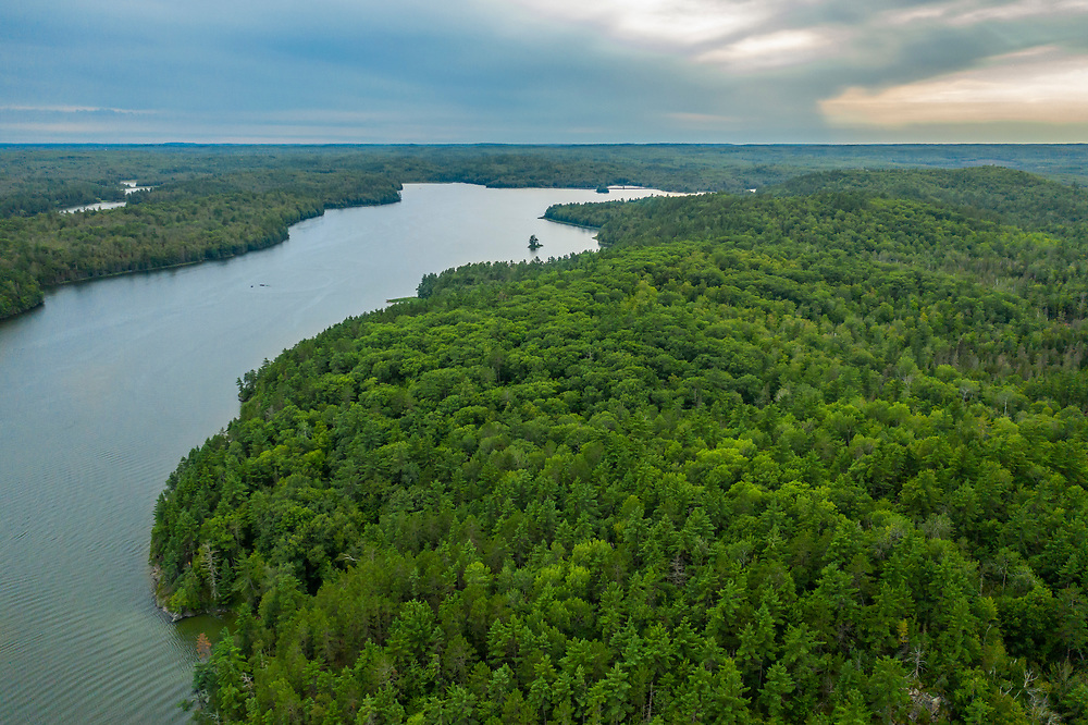 Drone view of Deer Lake near Ishpeming, Michigan in Marquette County.