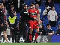 Football - 2017 / 2018 Premier League - Chelsea vs. Huddersfield Town<br /> <br /> Huddersfield Manager, David Wagner, hugs Christopher Schindlere at the final whistle after surviving in the Premiership for next season at Stamford Bridge.<br /> <br /> COLORSPORT/ANDREW COWIE