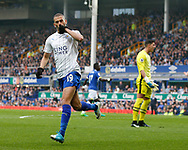 Islam Slimani of Leicester City celebrates scoring the equalising goal during the English Premier League match at Goodison Park Stadium, Liverpool. Picture date: April 9th 2017. Pic credit should read: Simon Bellis/Sportimage