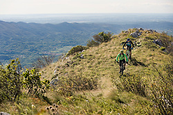 two mountain bikers on the way, Vipava valley, Istria, Slovenia