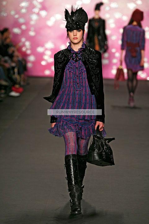 Eliza Cummings walks the runway wearing Anna Sui Fall 2009 collection