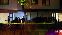 Boise police investigate at a crime scene near the corner of State and Wyle streets in Boise, Idaho just before 11 p.m. on Saturday, June 30, 2018. During a news conference, Police Chief Bill Bones reported nine stabbing victims of diverse ages were reported at the scene. The call to police was made at 8:46 p.m. He said all nine victims were transported to the hospital and police apprehended a suspect at gunpoint soon after the incident. Photo by Darin Oswald/Idaho Statesman/TNS/ABACAPRESS.COM