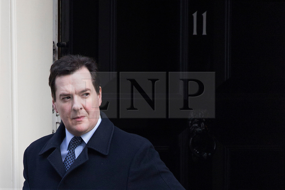 © licensed to London News Pictures. London, UK 18/02/2013.  Chancellor of the Exchequer, George Osborne leaving 11 Downing Street in London on Tuesday 19 February 2013. Photo credit: Tolga Akmen/LNP