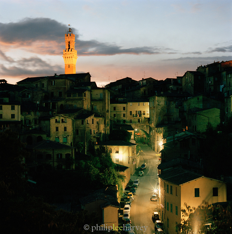 View across Siena old town towards the Torre del Mangia, Siena, Tuscany, Italy