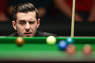Mark Selby (Eng) lines up a shot.  Barry Hawkins (Eng) v Mark Selby (Eng) , Quarter-Final match at the Dafabet Masters Snooker 2017, at Alexandra Palace in London on Friday 20th January 2017.<br /> pic by John Patrick Fletcher, Andrew Orchard sports photography.