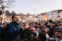 FAENZA, ITALY - 5 JANUARY 2020: Matteo Salvini, former Interior Minister of Italy and leader of the far-right League party, speaks to the crowd waiting to take a selfie with him in Faenza, Italy, on January 5th 2020.<br /> <br /> Matteo Salvini is campaigning in the region of Emilia Romagna to support the League candidate Lucia Borgonzoni running for governor.<br /> <br /> After being ousted from government in September 2019, Matteo Salvini has made it a priority to campaign in all the Italian regions undergoing regional elections to demonstrate that, in power or not, he still commands considerable support.<br /> <br /> The January 26th regional elections in Emilia Romagna, traditionally the home of the Italian left, has been targeted by Matteo Salvini as a catalyst for bringing down the government. A loss for the center-left Democratic Party (PD) against Mr Salvini's right would strip the centre-left party of control of its symbolic heartland, and probably trigger a crisis in its coalition with the Five Star Movement.
