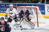 KELOWNA, CANADA - MARCH 26: Connor Ingram #39 of Kamloops Blazers defends the net from Calvin Thurkauf #27 of Kelowna Rockets on March 26, 2016 at Prospera Place in Kelowna, British Columbia, Canada.  (Photo by Marissa Baecker/Shoot the Breeze)  *** Local Caption *** Calvin Thurkauf; Connor Ingram;