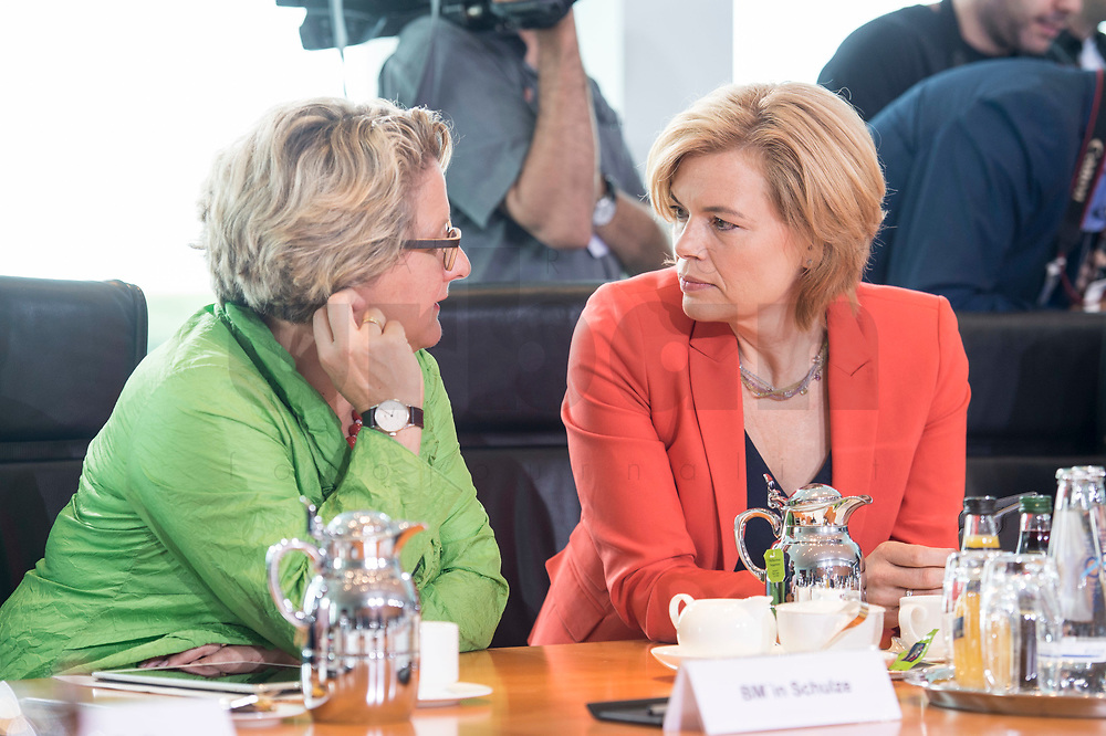 20 JUN 2018, BERLIN/GERMANY:<br /> Svenja Schulze (L), SPD, Bundesministerin fuer Umwelt, Naturschutz und nukleare Sicherheit, und Julia Kloeckner (R), MdB, CDU, Bundesministerin fuer Ernaehrung und Landwirtschaft, im Gespraech, vor Beginn der Kabinettsitzung, Bundeskanzleramt<br /> IMAGE: 20180620-01-024<br /> KEYWORDS: Kabinett, Sitzung, Gespräch, Julia Klöckner