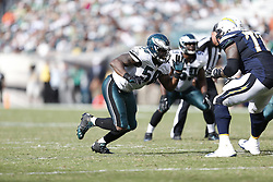 Philadelphia Eagles outside linebacker Trent Cole #58 pushes off of the line during the NFL game between the San Diego Chargers and the Philadelphia Eagles in Philadelphia. The Chargers won 33-30. (Photo by Brian Garfinkel)