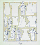 Cloak material spread from Geschichte des kostüms in chronologischer entwicklung (History of the costume in chronological development) by Racinet, A. (Auguste), 1825-1893. and Rosenberg, Adolf, 1850-1906, Volume 1 printed in Berlin in 1888