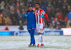 Stoke City's Eric Maxim Choupo-Moting leaves the pitch injured during the Premier League match at the bet365 Stadium, Stoke.