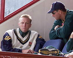 South African bowler Allan Donald (left) with captain Hansie Cronje sitting on the team balcony, during the first day of the 5th Test, at Centurion Park, during England's tour of South Africa and Zimbabwe.