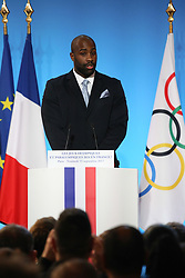 Teddy Riner during the reception in honor of the French delegation Paris 2024, Elysée Palace, Paris, September 15, 2017, Photo by Hamilton/Pool/ABACAPRESS.COM