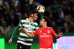 LISBON, Feb. 4, 2019  Joao Felix (R) of Benfica vies for a header with Andre Pinto of Sporting during the Portuguese League soccer match between SL Benfica and Sporting CP in Lisbon, Portugal, Feb. 3, 2019. Benfica won 4-2. (Credit Image: © Xinhua via ZUMA Wire)