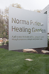 Yale-New Haven Park Avenue Medical Center. Architect: Shepley Bulfinch. Contractor: Gilbane Building Company, Glastonbury, CT. James R Anderson Photography, New Haven CT photog.com. Date of Photograph 4 May 2016  Submission 25  © James R Anderson. Norma Pfriem Healing Garden Glass Sign.
