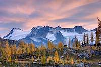 Clouds in evening afterglow over the Truce Group seen from Monica Meadows, Purcell Mountains British Columbia