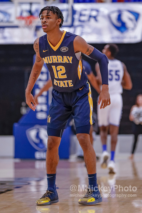 CHARLESTON, IL - JANUARY 17: Ja Morant #12 of the Murray State Racers is seen during the game against the Eastern Illinois Panthers at Lantz Arena on January 17, 2019 in Charleston, Illinois. (Photo by Michael Hickey/Getty Images) *** Local Caption *** Ja Morant