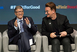 Billionaire philanthropist Bill Gates and Bono exchange laughs during a session at the Global Fund conference Saturday, on September 17, 2016 in Montreal, QC, Canada. Photo by Paul Chiasson/The Canadian Press/ABACAPRESS.COM