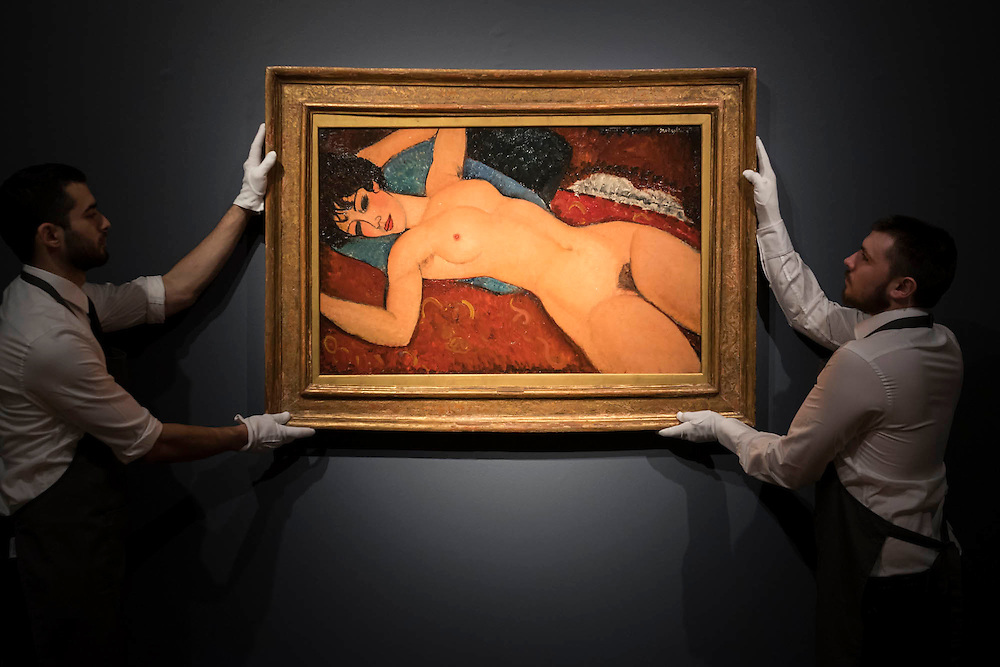 AMEDEO MODIGLIANI (1884-1920)<br /> Nu couché<br /> Painted in 1917-1918<br /> Estimate on Request (in the region of $100 million) - Christie's showcases  the London Post-War and Contemporary Art Evening Sale in October, alongside an exceptional selection of works from the  New York sales in November of Impressionist, Modern, Post-War And  Contemporary Art. The works will be on view to the public from Saturday 10 October to Saturday 17 October at Christie's King Street. The highlight is  Amedeo Modigliani's, 'Nu couché (Reclining  Nude)', painted in 1917-18, which has an estimate in the region of $100 million.