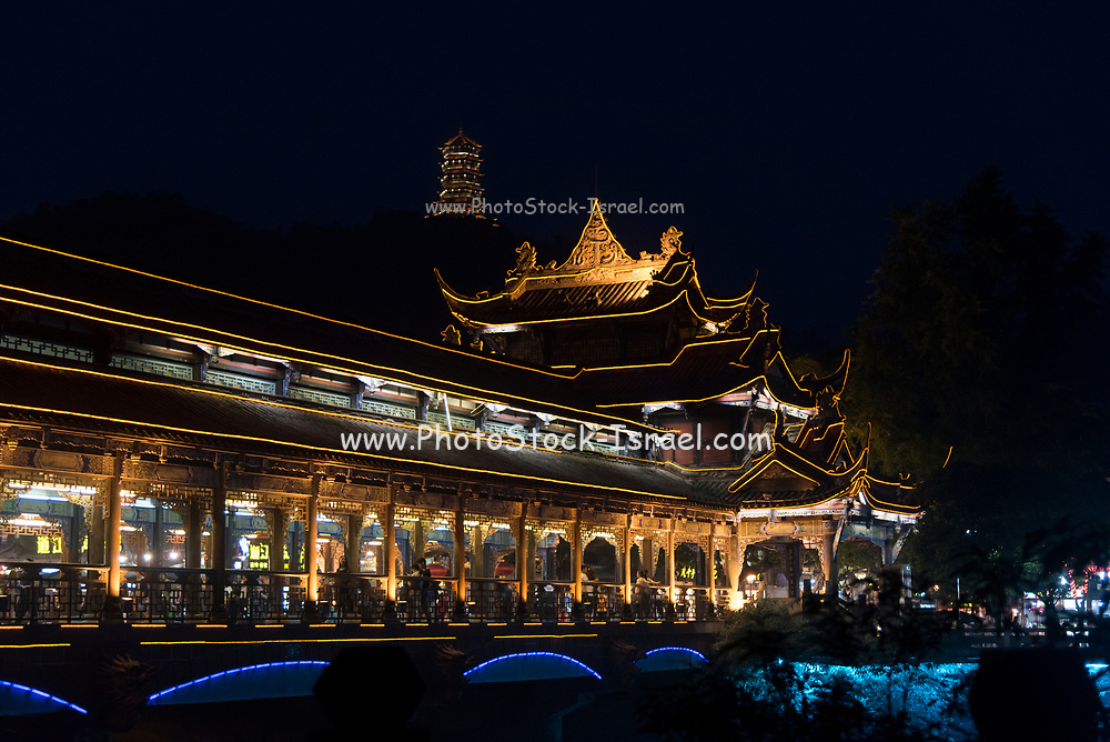 Night photography of Dujiangyan Irrigation System Bridge,  Sichuan Province, People's Republic of China.