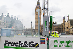 "2016-02-09 Anti-Fracking protest seen ""fracking rig"" set up in Parliament Square."