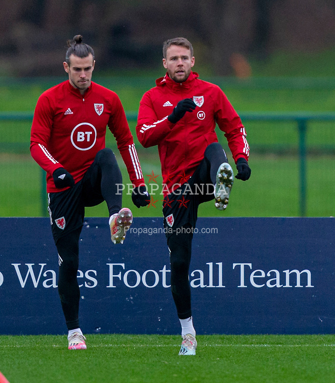 CARDIFF, WALES - Tuesday, November 17, 2020: Wales' captain Gareth Bale (L) and Chris Gunter (R) during a training session at the Vale Resort ahead of the UEFA Nations League Group Stage League B Group 4 match between Wales and Finland. (Pic by David Rawcliffe/Propaganda)