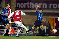 Photograph: Scott Heavey.<br />Arsenal v Rotherham United. Carling Cup Third Round.<br />Jeremie Aliadiere fires Arsenal in to the lead